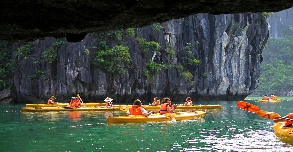 Kayaking Through Caves